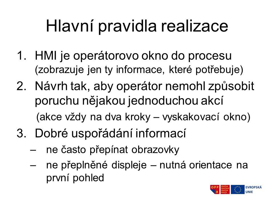 Hlavní pravidla realizace 1.HMI je operátorovo okno do procesu (zobrazuje jen ty informace, které potřebuje) 2.Návrh tak, aby operátor nemohl způsobit