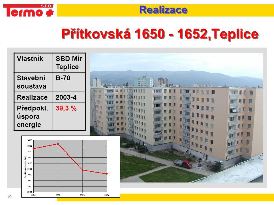 19 Přítkovská 1650 - 1652,Teplice VlastníkSBD Mír Teplice Stavební soustava B-70 Realizace2003-4 Předpokl. úspora energie 39,3 % Realizace