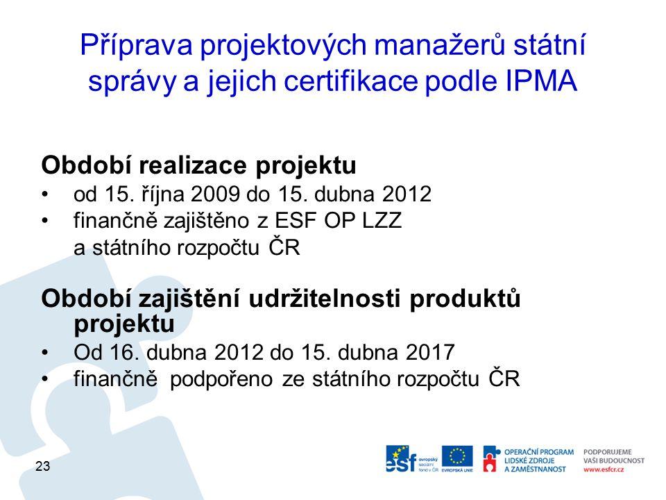 Příprava projektových manažerů státní správy a jejich certifikace podle IPMA Období realizace projektu od 15. října 2009 do 15. dubna 2012 finančně za