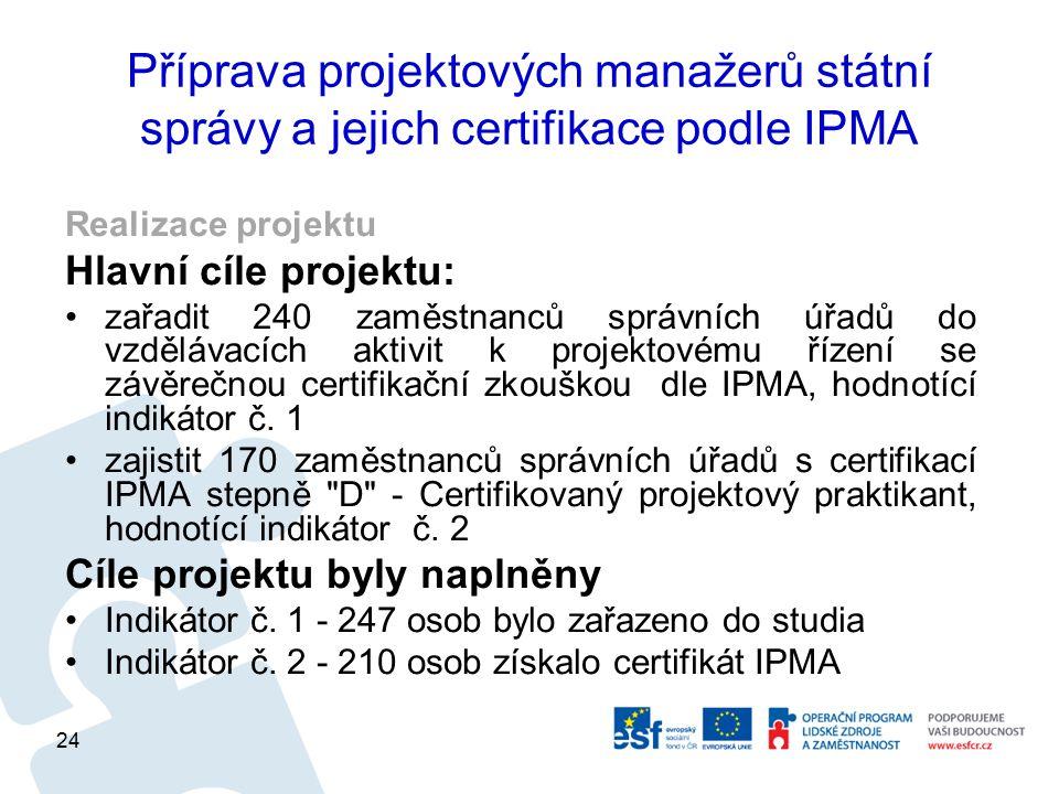 Příprava projektových manažerů státní správy a jejich certifikace podle IPMA Realizace projektu Hlavní cíle projektu: zařadit 240 zaměstnanců správních úřadů do vzdělávacích aktivit k projektovému řízení se závěrečnou certifikační zkouškou dle IPMA, hodnotící indikátor č.