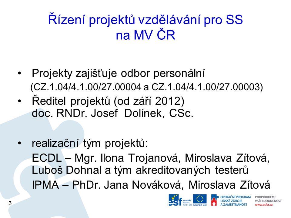 Řízení projektů vzdělávání pro SS na MV ČR Projekty zajišťuje odbor personální (CZ.1.04/4.1.00/27.00004 a CZ.1.04/4.1.00/27.00003) Ředitel projektů (o