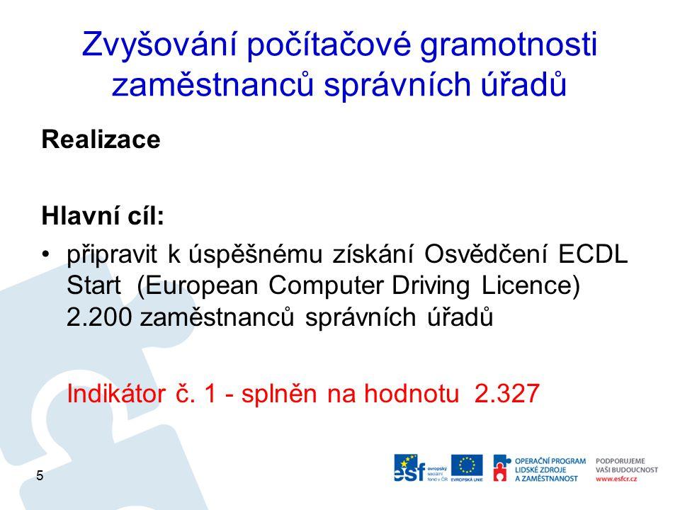 Zvyšování počítačové gramotnosti zaměstnanců správních úřadů Realizace Hlavní cíl: připravit k úspěšnému získání Osvědčení ECDL Start (European Comput