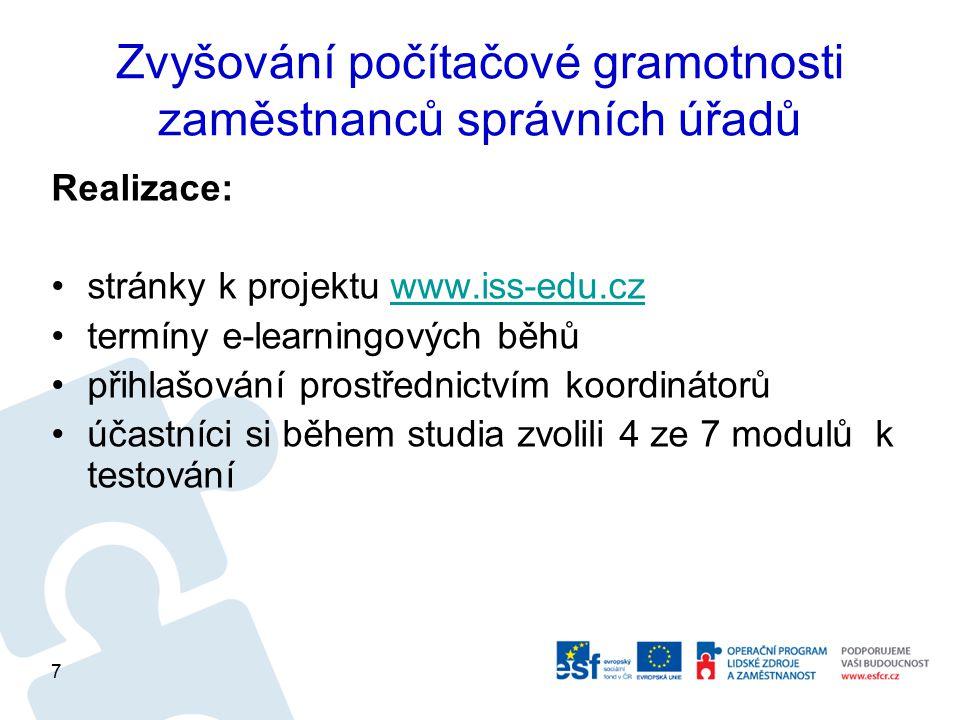 Zvyšování počítačové gramotnosti zaměstnanců správních úřadů Harmonogram realizace projektu: 1.2.2010 - zahájení projektu květen 2010 - pořízení e-learningových kurzů 5.7.2010 - spuštění 1.