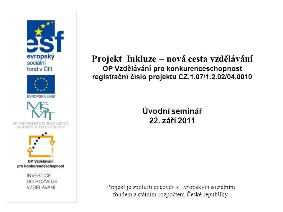 Projekt Inkluze – nová cesta vzdělávání OP Vzdělávání pro konkurenceschopnost registrační číslo projektu CZ.1.07/1.2.02/04.0010 Úvodní seminář 22.