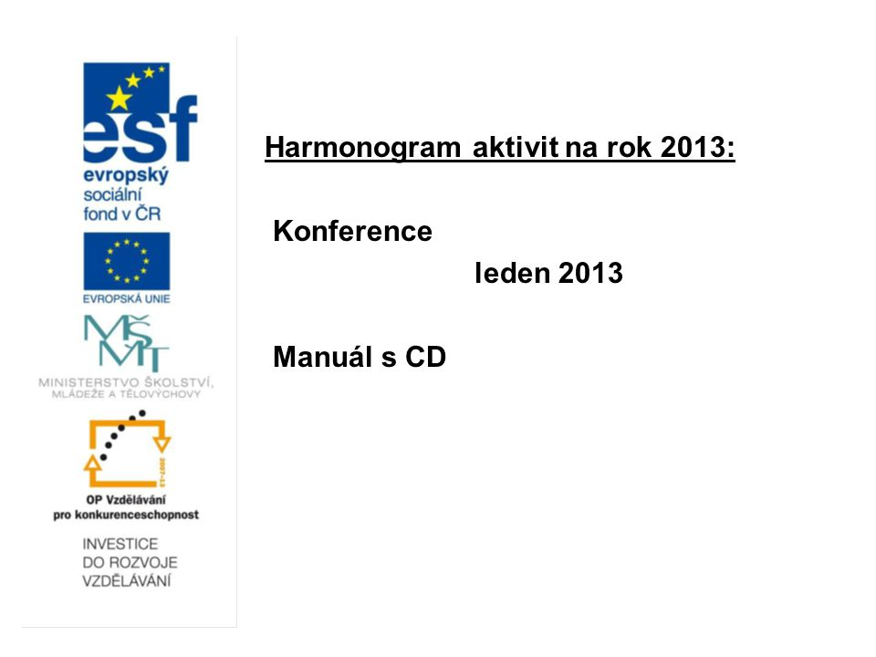 Harmonogram aktivit na rok 2013: Konference leden 2013 Manuál s CD