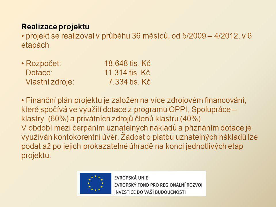 Realizace projektu projekt se realizoval v průběhu 36 měsíců, od 5/2009 – 4/2012, v 6 etapách Rozpočet:18.648 tis. Kč Dotace:11.314 tis. Kč Vlastní zd