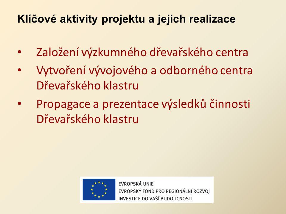 Klíčové aktivity projektu a jejich realizace Založení výzkumného dřevařského centra Vytvoření vývojového a odborného centra Dřevařského klastru Propag