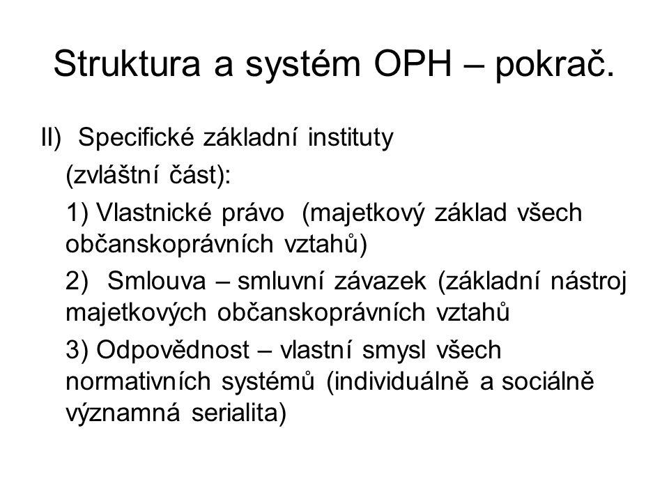 Struktura a systém OPH – pokrač. II) Specifické základní instituty (zvláštní část): 1) Vlastnické právo (majetkový základ všech občanskoprávních vztah