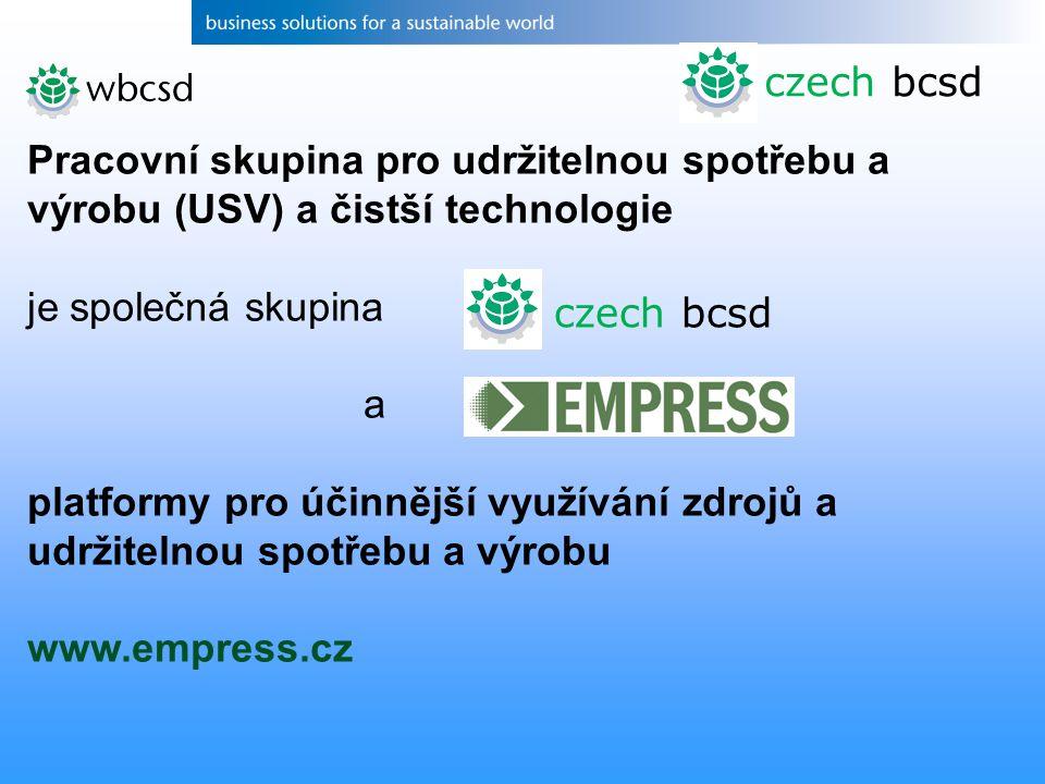 czech bcsd Pracovní skupina pro udržitelnou spotřebu a výrobu (USV) a čistší technologie je společná skupina a platformy pro účinnější využívání zdrojů a udržitelnou spotřebu a výrobu www.empress.cz czech bcsd