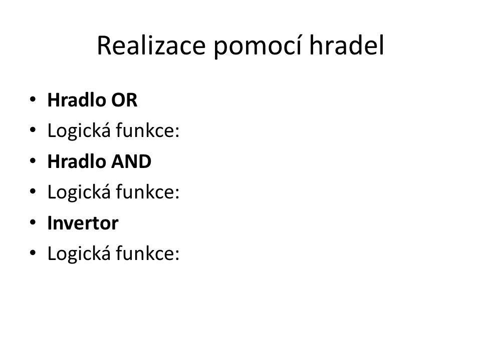 Realizace pomocí hradel Hradlo OR Logická funkce: Hradlo AND Logická funkce: Invertor Logická funkce: