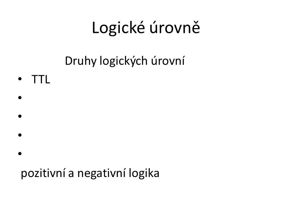 Logické úrovně Druhy logických úrovní TTL pozitivní a negativní logika