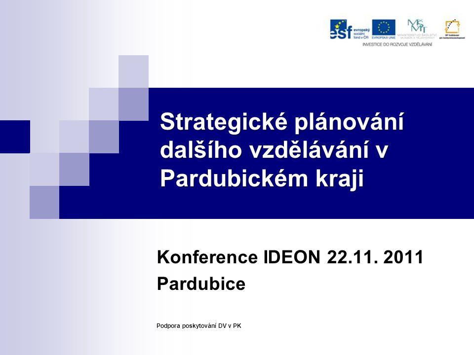 Strategické plánování dalšího vzdělávání v Pardubickém kraji Konference IDEON 22.11. 2011 Pardubice Podpora poskytování DV v PK