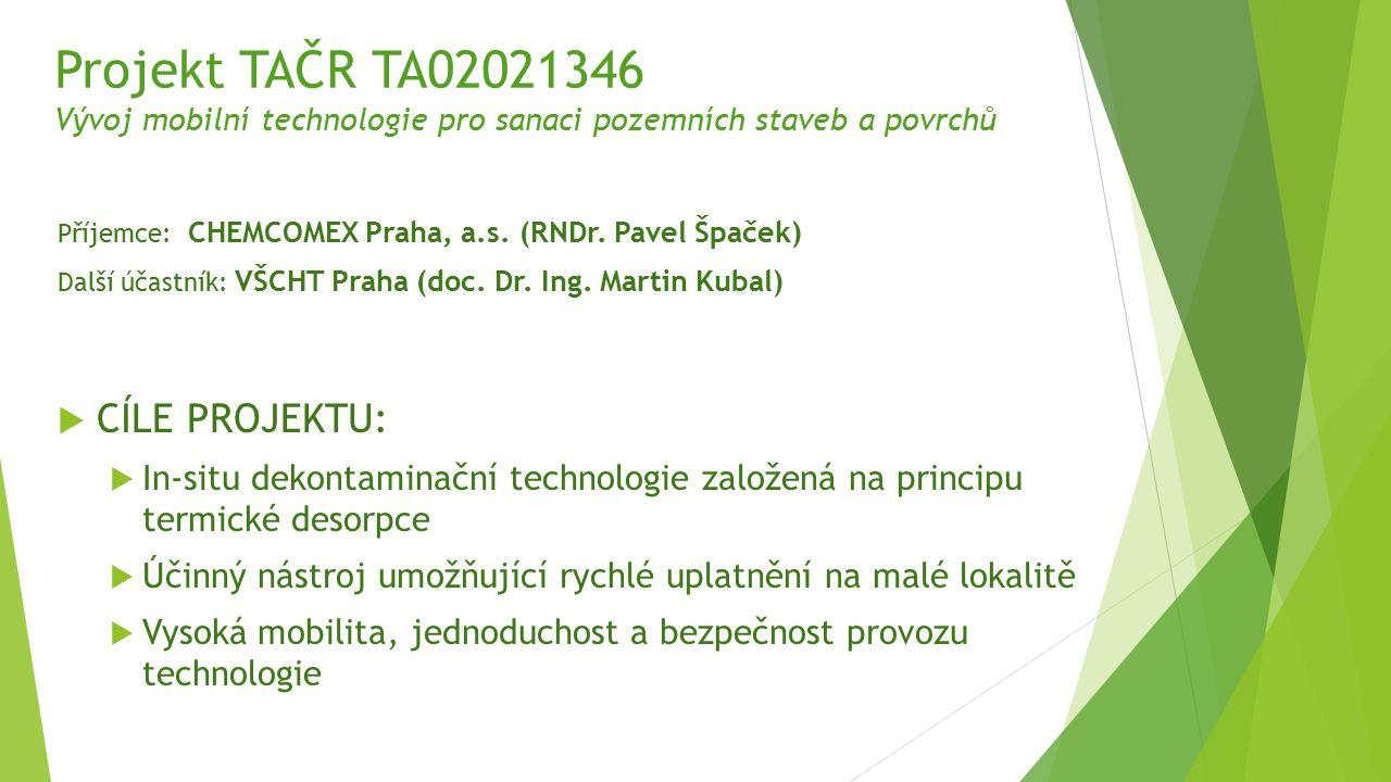 Projekt TAČR TA02021346 Vývoj mobilní technologie pro sanaci pozemních staveb a povrchů Příjemce: CHEMCOMEX Praha, a.s. (RNDr. Pavel Špaček) Další úča