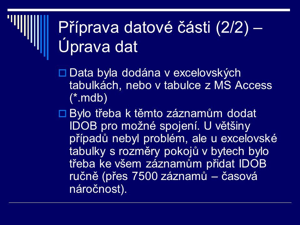 Příprava datové části (2/2) – Úprava dat  Data byla dodána v excelovských tabulkách, nebo v tabulce z MS Access (*.mdb)  Bylo třeba k těmto záznamům dodat IDOB pro možné spojení.
