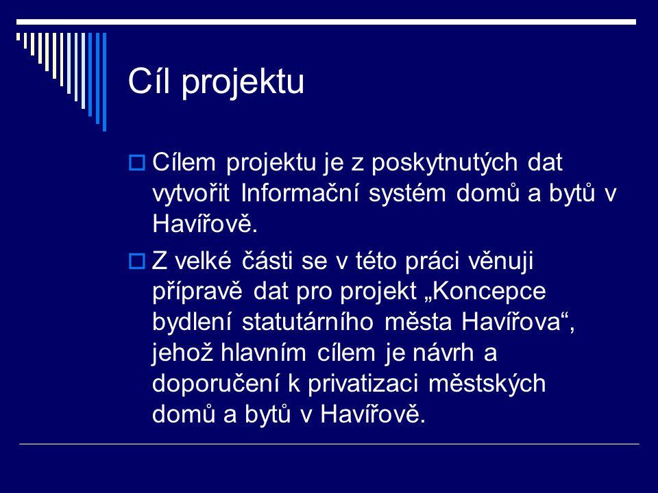 Cíl projektu  Cílem projektu je z poskytnutých dat vytvořit Informační systém domů a bytů v Havířově.