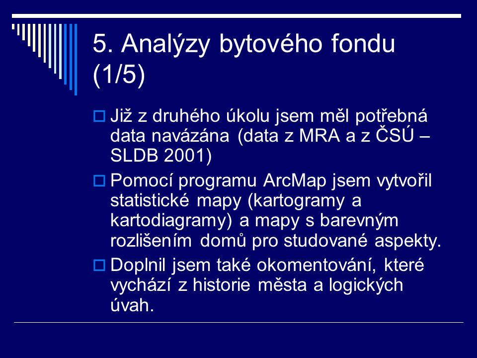 5. Analýzy bytového fondu (1/5)  Již z druhého úkolu jsem měl potřebná data navázána (data z MRA a z ČSÚ – SLDB 2001)  Pomocí programu ArcMap jsem v