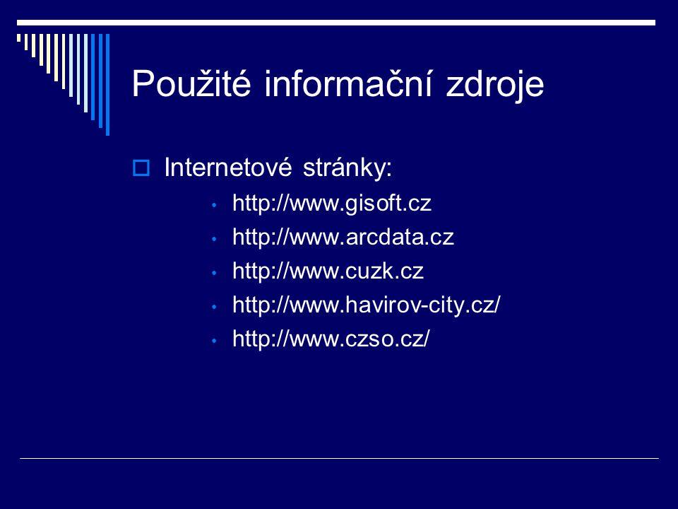 Použité informační zdroje  Internetové stránky: http://www.gisoft.cz http://www.arcdata.cz http://www.cuzk.cz http://www.havirov-city.cz/ http://www.czso.cz/