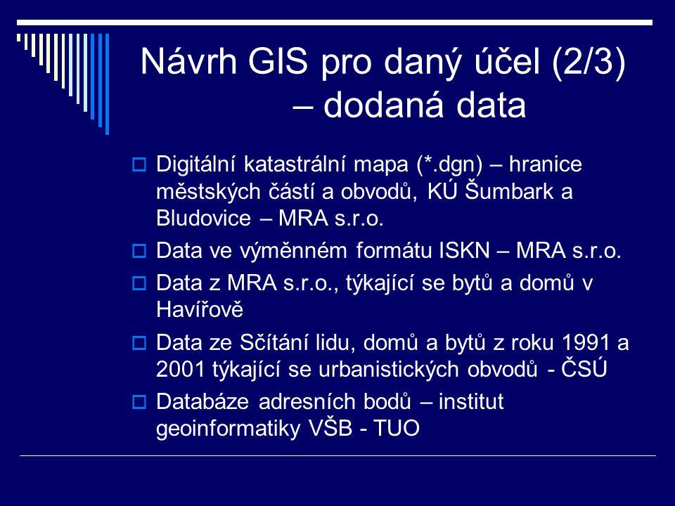 Návrh GIS pro daný účel (2/3) – dodaná data  Digitální katastrální mapa (*.dgn) – hranice městských částí a obvodů, KÚ Šumbark a Bludovice – MRA s.r.o.