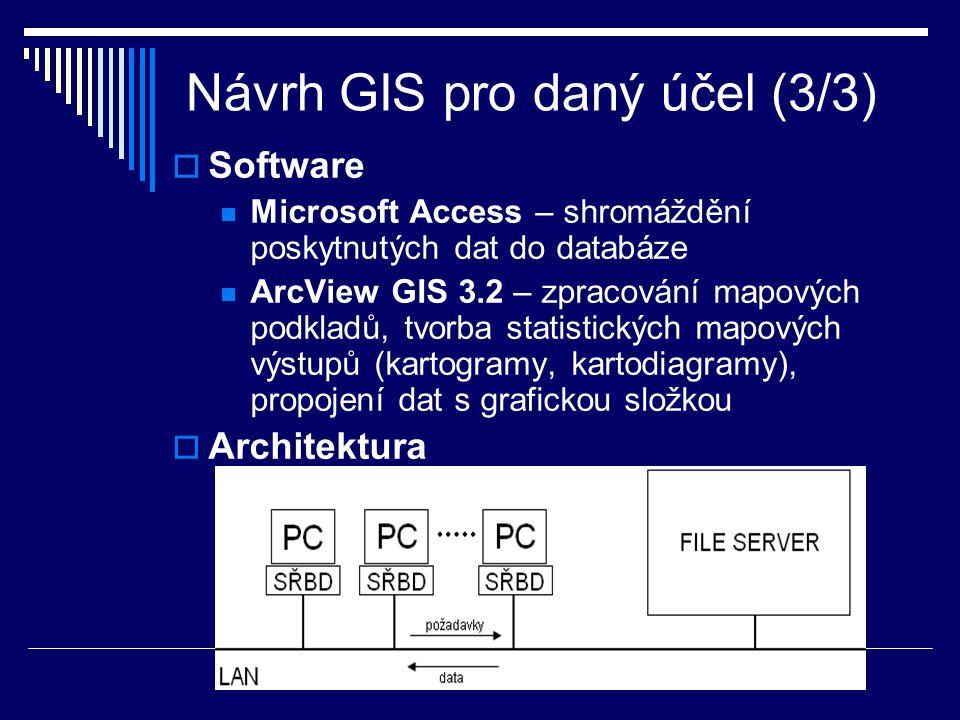 Návrh GIS pro daný účel (3/3)  Software Microsoft Access – shromáždění poskytnutých dat do databáze ArcView GIS 3.2 – zpracování mapových podkladů, tvorba statistických mapových výstupů (kartogramy, kartodiagramy), propojení dat s grafickou složkou  Architektura