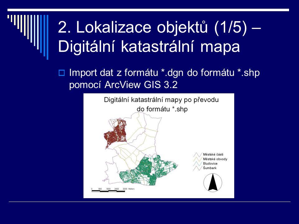 2. Lokalizace objektů (1/5) – Digitální katastrální mapa  Import dat z formátu *.dgn do formátu *.shp pomocí ArcView GIS 3.2