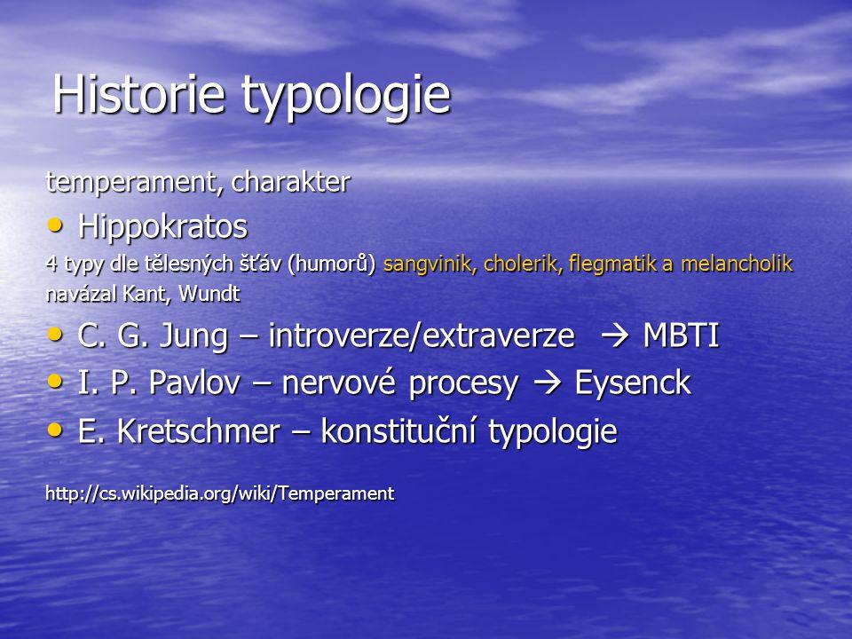 Historie typologie temperament, charakter Hippokratos Hippokratos 4 typy dle tělesných šťáv (humorů) sangvinik, cholerik, flegmatik a melancholik navá