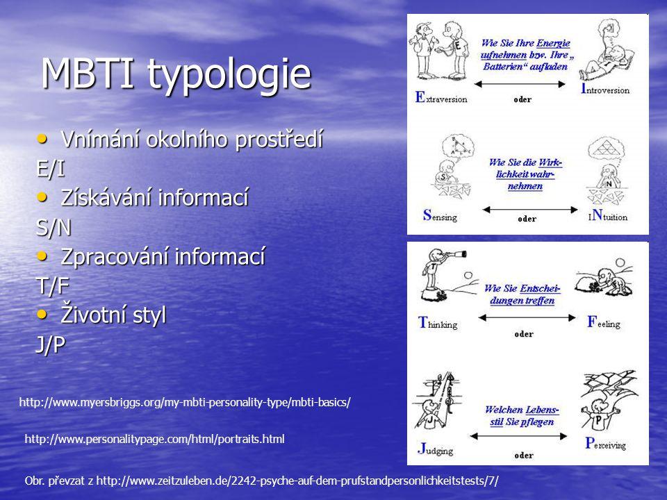 MBTI typologie Vnímání okolního prostředí Vnímání okolního prostředíE/I Získávání informací Získávání informacíS/N Zpracování informací Zpracování inf