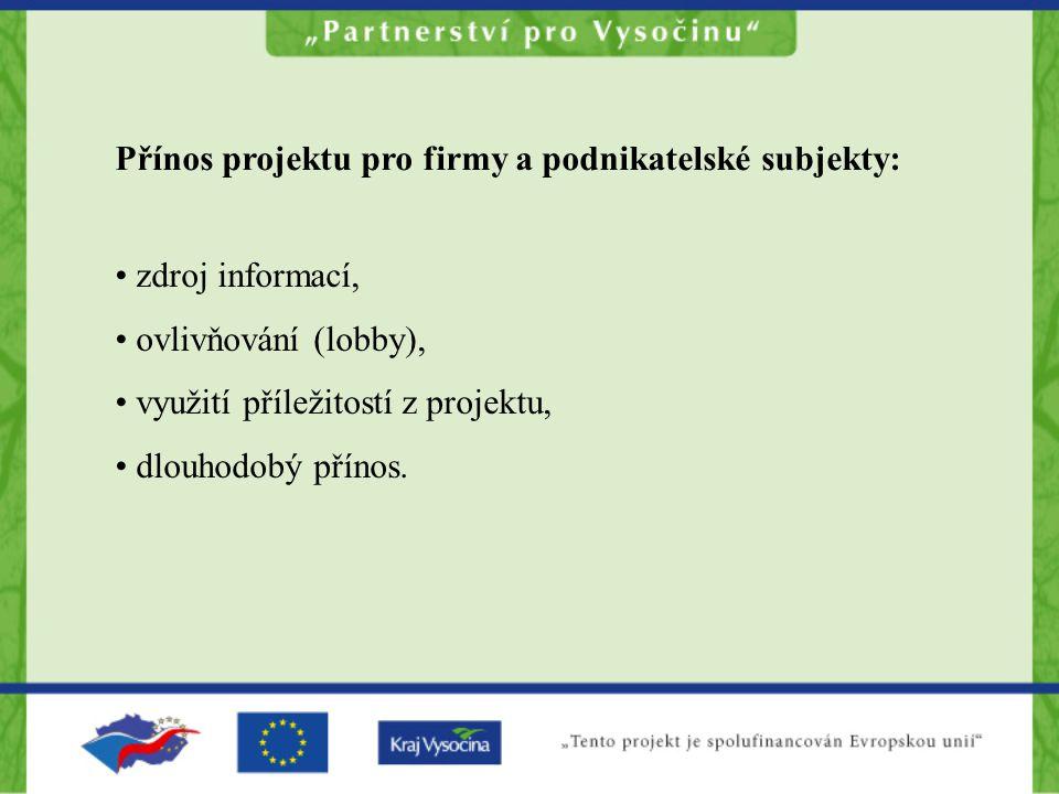 Přínos projektu pro firmy a podnikatelské subjekty: zdroj informací, ovlivňování (lobby), využití příležitostí z projektu, dlouhodobý přínos.