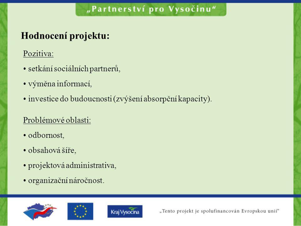 Hodnocení projektu: Pozitiva: setkání sociálních partnerů, výměna informací, investice do budoucnosti (zvýšení absorpční kapacity).