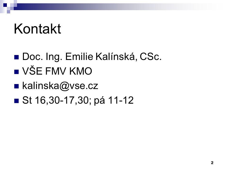 2 Kontakt Doc. Ing. Emilie Kalínská, CSc. VŠE FMV KMO kalinska@vse.cz St 16,30-17,30; pá 11-12