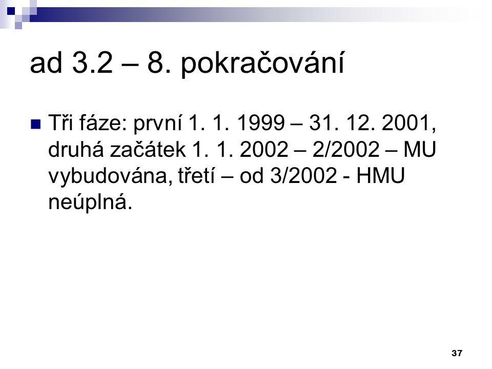 37 ad 3.2 – 8. pokračování Tři fáze: první 1. 1.