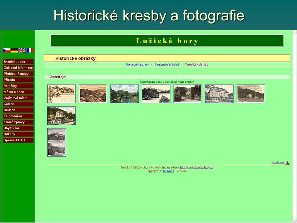 Historické kresby a fotografie
