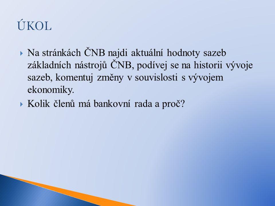 ÚKOL  Na stránkách ČNB najdi aktuální hodnoty sazeb základních nástrojů ČNB, podívej se na historii vývoje sazeb, komentuj změny v souvislosti s vývojem ekonomiky.