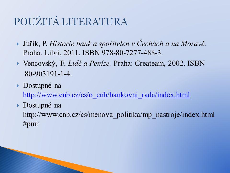 POUŽITÁ LITERATURA  Juřík, P. Historie bank a spořitelen v Čechách a na Moravě.