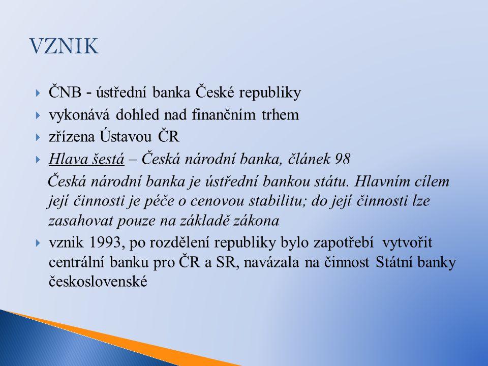  ČNB - ústřední banka České republiky  vykonává dohled nad finančním trhem  zřízena Ústavou ČR  Hlava šestá – Česká národní banka, článek 98 Česká národní banka je ústřední bankou státu.