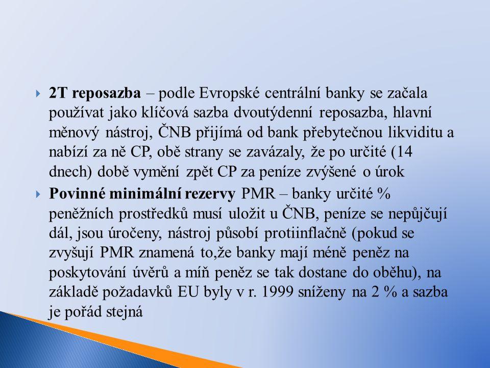  2T reposazba – podle Evropské centrální banky se začala používat jako klíčová sazba dvoutýdenní reposazba, hlavní měnový nástroj, ČNB přijímá od bank přebytečnou likviditu a nabízí za ně CP, obě strany se zavázaly, že po určité (14 dnech) době vymění zpět CP za peníze zvýšené o úrok  Povinné minimální rezervy PMR – banky určité % peněžních prostředků musí uložit u ČNB, peníze se nepůjčují dál, jsou úročeny, nástroj působí protiinflačně (pokud se zvyšují PMR znamená to,že banky mají méně peněz na poskytování úvěrů a míň peněz se tak dostane do oběhu), na základě požadavků EU byly v r.