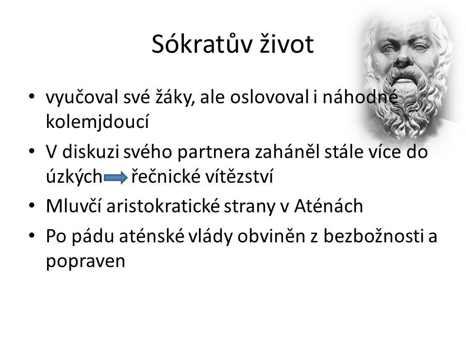 """Sókratovo učení Jeden z nejvýznamnějších evropských filozofů Navázal na sofisty Odkaz ze Sokratovy filozofie především z pramenů od Platóna Etika """"Vím, že nic nevím """"Poznej sám sebe"""