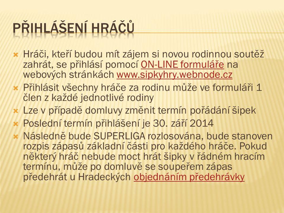 Hráči, kteří budou mít zájem si novou rodinnou soutěž zahrát, se přihlásí pomocí ON-LINE formuláře na webových stránkách www.sipkyhry.webnode.czON-L