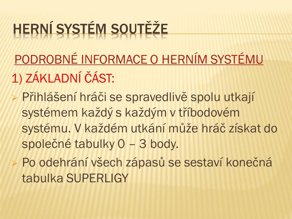 PODROBNÉ INFORMACE O HERNÍM SYSTÉMU 1) ZÁKLADNÍ ČÁST:  Přihlášení hráči se spravedlivě spolu utkají systémem každý s každým v tříbodovém systému.