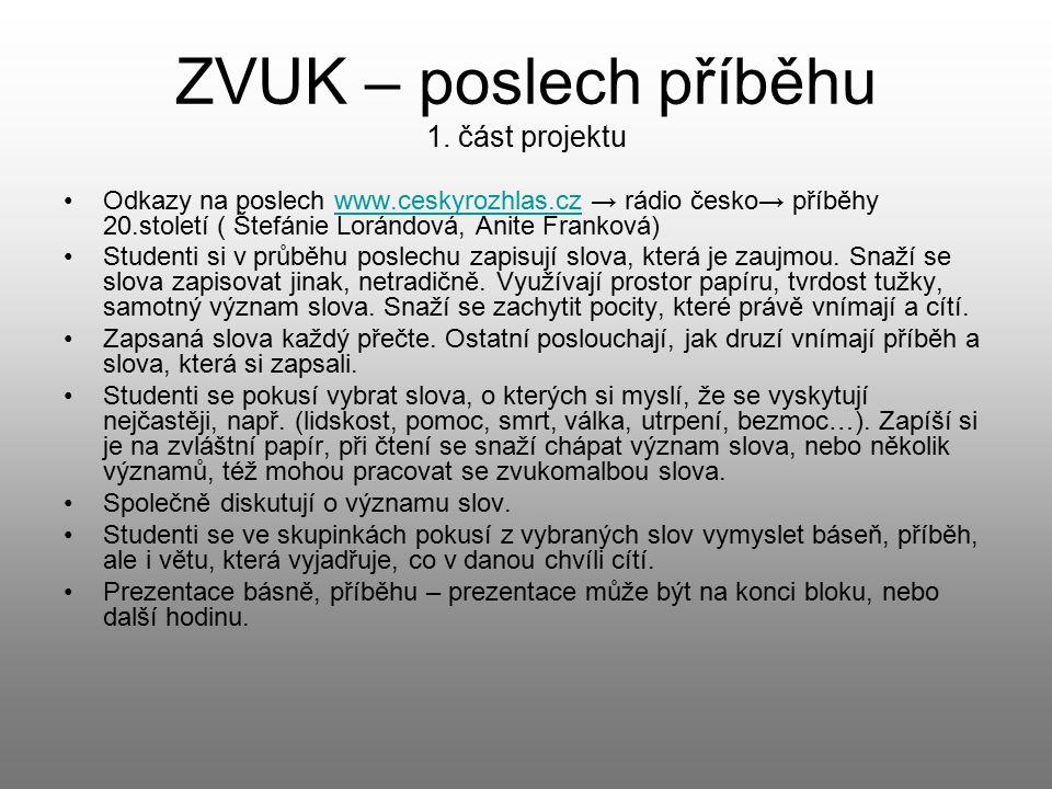 ZVUK – poslech příběhu 1. část projektu Odkazy na poslech www.ceskyrozhlas.cz → rádio česko→ příběhy 20.století ( Štefánie Lorándová, Anite Franková)w
