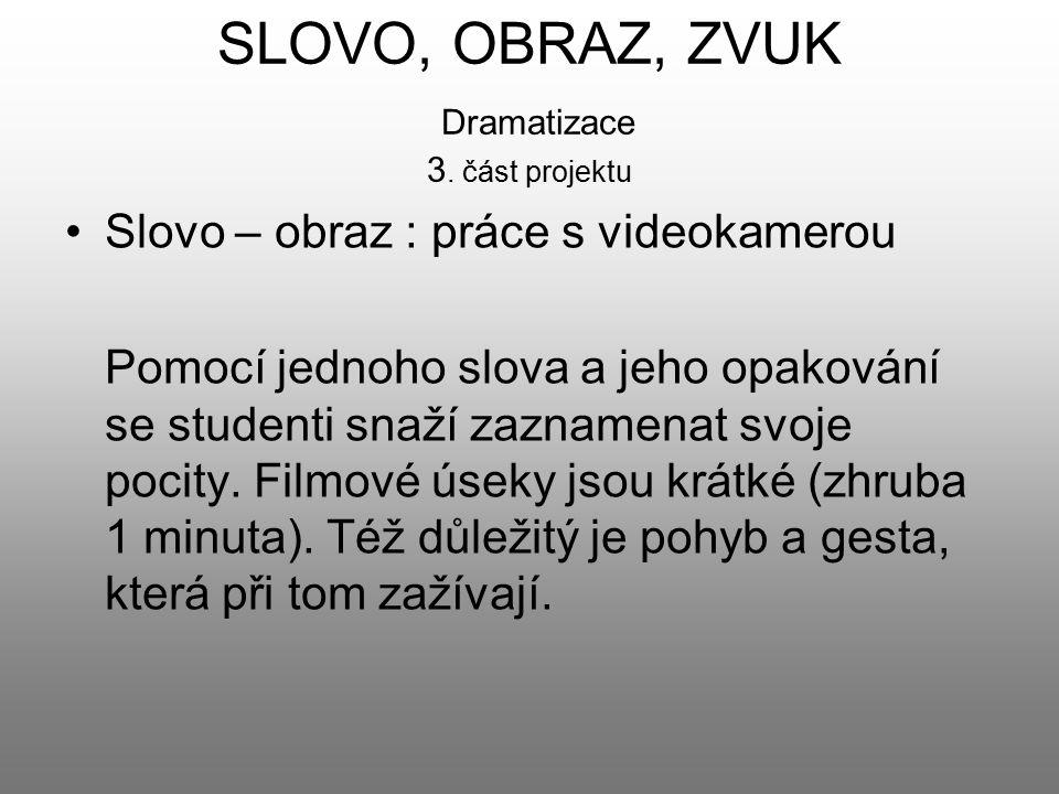 SLOVO, OBRAZ, ZVUK Dramatizace 3. část projektu Slovo – obraz : práce s videokamerou Pomocí jednoho slova a jeho opakování se studenti snaží zaznamena