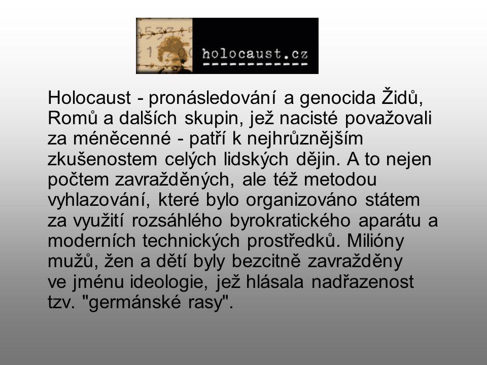 Holocaust - pronásledování a genocida Židů, Romů a dalších skupin, jež nacisté považovali za méněcenné - patří k nejhrůznějším zkušenostem celých lids
