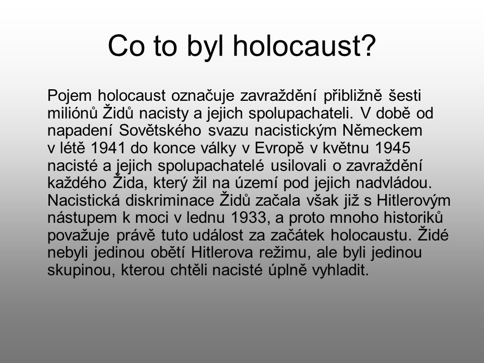 Co to byl holocaust.