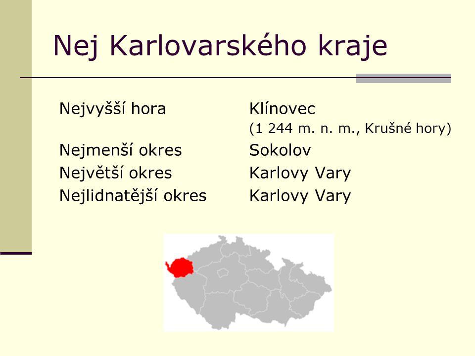 Nej Karlovarského kraje Nejvyšší horaKlínovec (1 244 m. n. m., Krušné hory) Nejmenší okresSokolov Největší okresKarlovy Vary Nejlidnatější okresKarlov