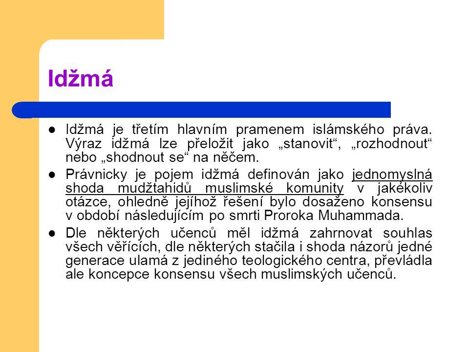 Idžmá Idžmá je třetím hlavním pramenem islámského práva.