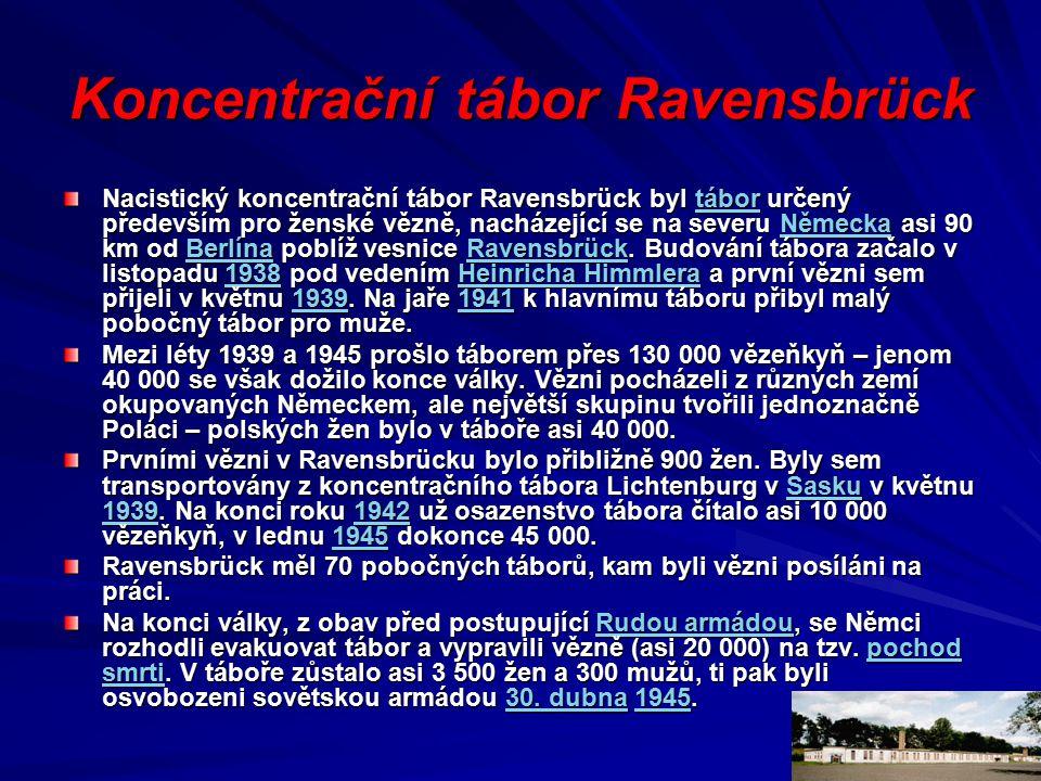 Koncentrační tábor Ravensbrück Nacistický koncentrační tábor Ravensbrück byl tábor určený především pro ženské vězně, nacházející se na severu Německa