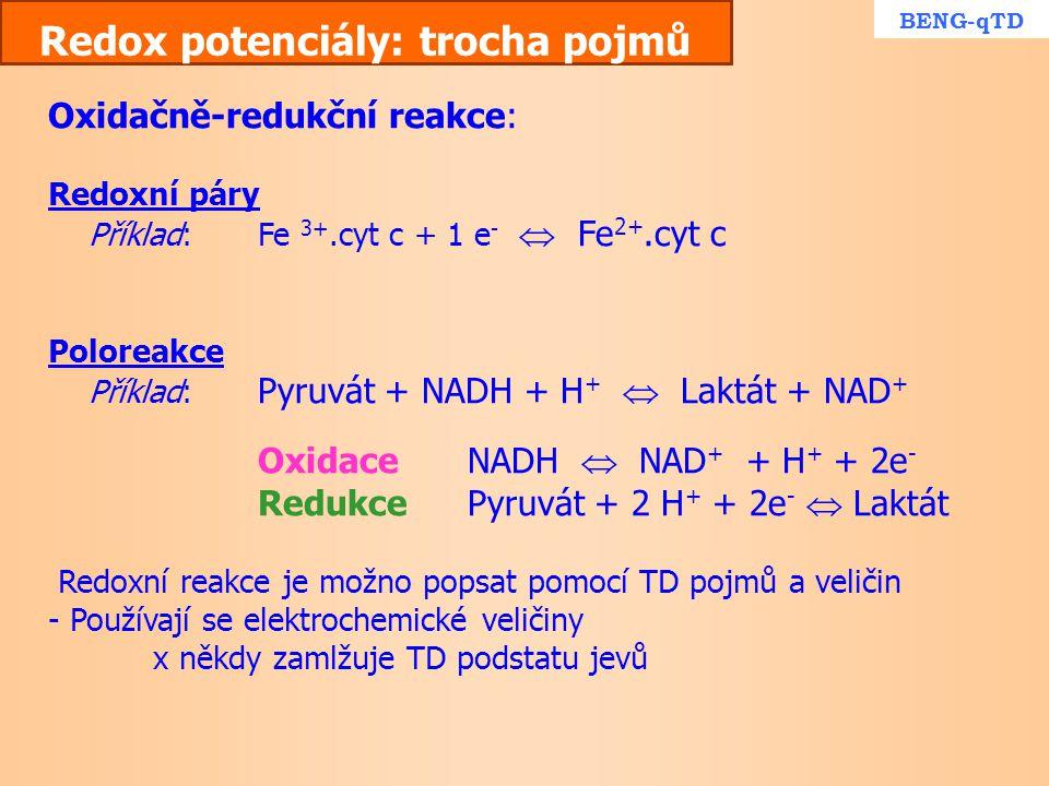 Redox potenciály: trocha pojmů Oxidačně-redukční reakce: Redoxní páry Příklad:Fe 3+.cyt c + 1 e -  Fe 2+.cyt c Poloreakce Příklad: Pyruvát + NADH + H