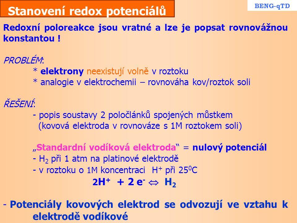 Stanovení redox potenciálů Redoxní poloreakce jsou vratné a lze je popsat rovnovážnou konstantou ! PROBLÉM: * elektrony neexistují volně v roztoku * a