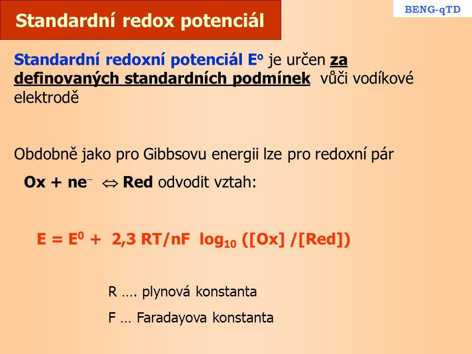 Standardní redox potenciál Standardní redoxní potenciál E o je určen za definovaných standardních podmínek vůči vodíkové elektrodě Obdobně jako pro Gi