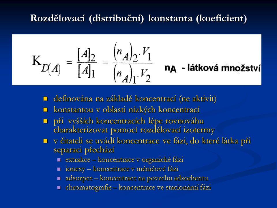 Separační číslo (separační poměr, separační koeficient, retenční poměr, relativní těkavost..) Má-li dojít k dělení, musí se složky lišit hodnotami K D vyšší hodnoty  usnadňují separaci hodnota  však nevypovídá nic o tom, ve které fázi se separovaná složka bude nacházet K D(A) = 8 K D(B) = 2 ……  = 4 látky v horní fázi K D(A) = 0,8 K D(B) = 0,2 ……  = 4 látky v dolní fázi