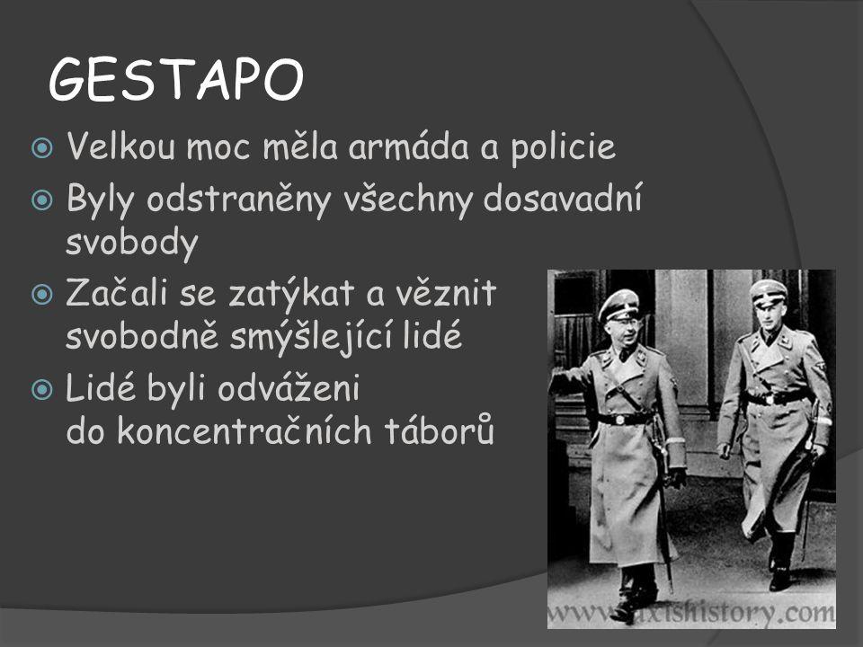 GESTAPO  Velkou moc měla armáda a policie  Byly odstraněny všechny dosavadní svobody  Začali se zatýkat a věznit svobodně smýšlející lidé  Lidé by
